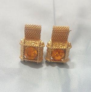 Other - Vintage Topaz Goldtone Mesh Cufflinks
